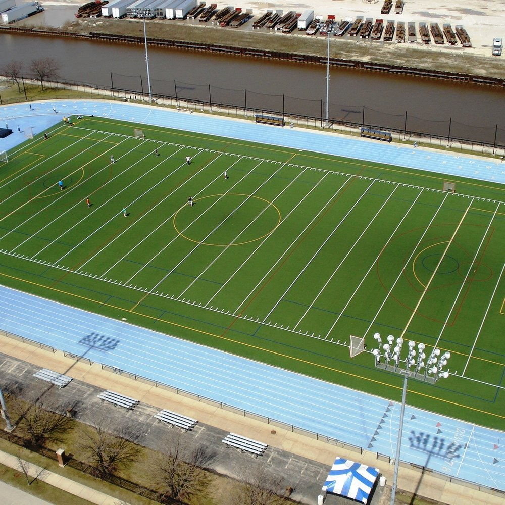 Marquette University Valley Fields - Soccer stadium and practice field, lacrosse game and practice field and track & field home competition site. Seasonally, a dome complex is fitted over the middle FieldTurf Revolution 360 field during the winter months for competition and training.