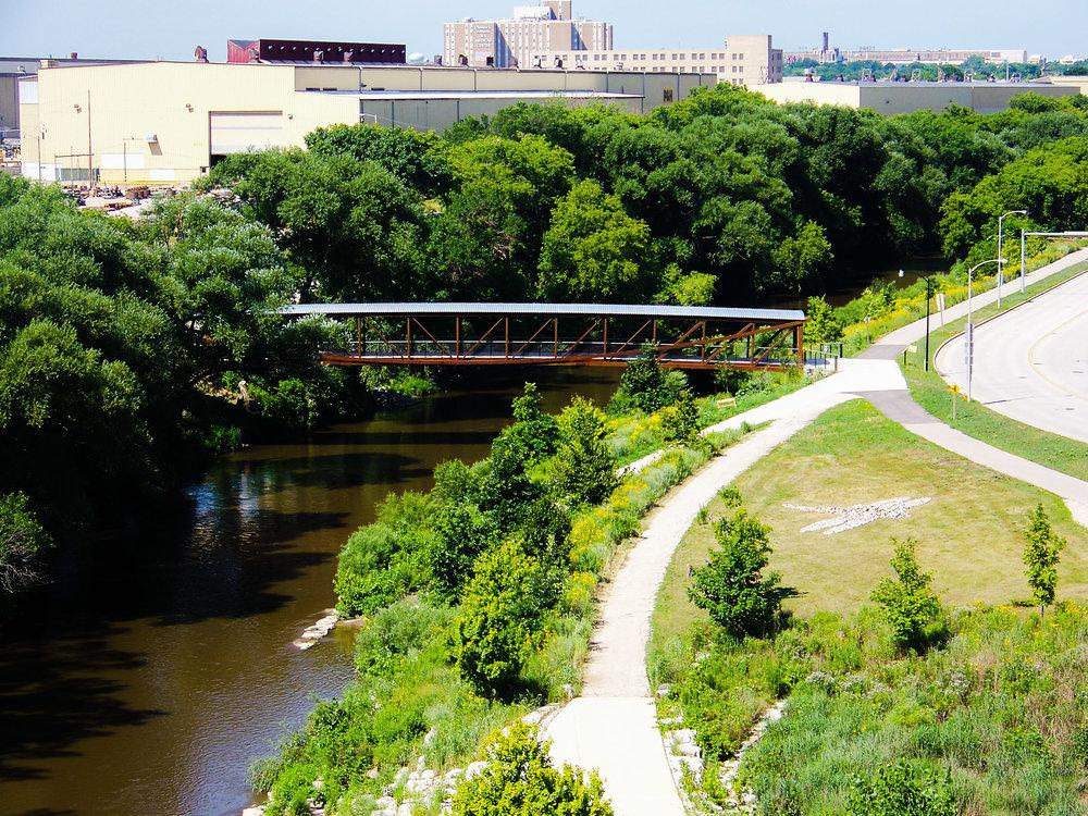 Now - Valley Passage Bridge, one of the three bridges to Three Bridges Park