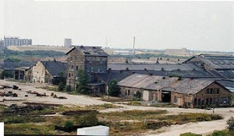 Vacant buildings at the former Milwaukee Road Shops site, directly east of where Miller Park is located today