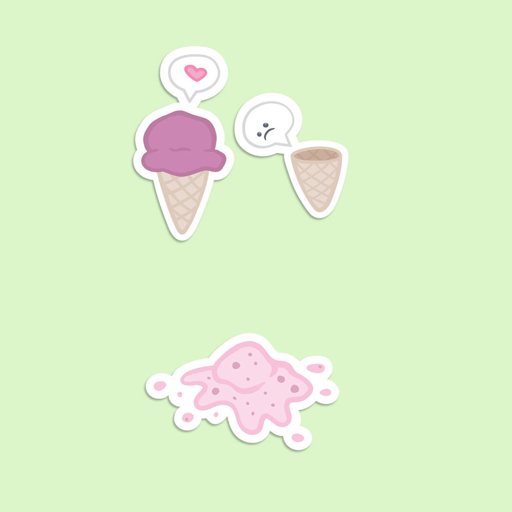 Ice Cream's Very Bad Day Sticker Pack   $3.00     Available through RedBubble.com