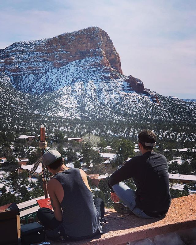 Downloading information from the universe for our next series 🌌 Find us here on the top of the mountain in Sedona!! 🧘🏻♀️🌄