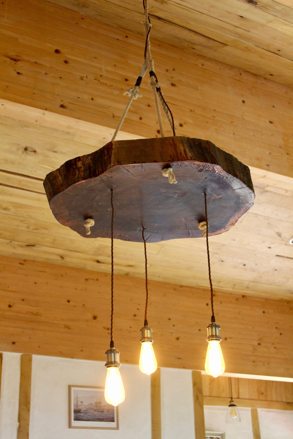 Gite Carlit; Walnut chandelier
