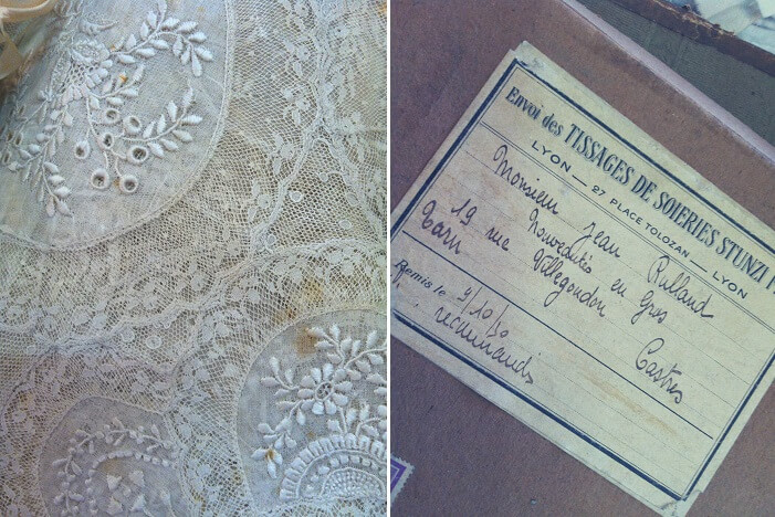 box of lace find, Flea market, brocante, The French Muse
