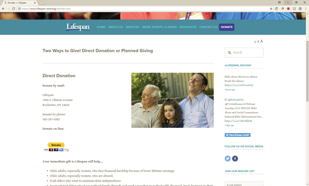 Step 1 - Click donate on the LifeSpan Page to begin the donation process