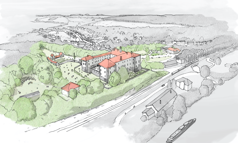 Masterplan rendering by  Wright & Wright:  Lobkowicz Library & Study Center at Nelahozeves Castle