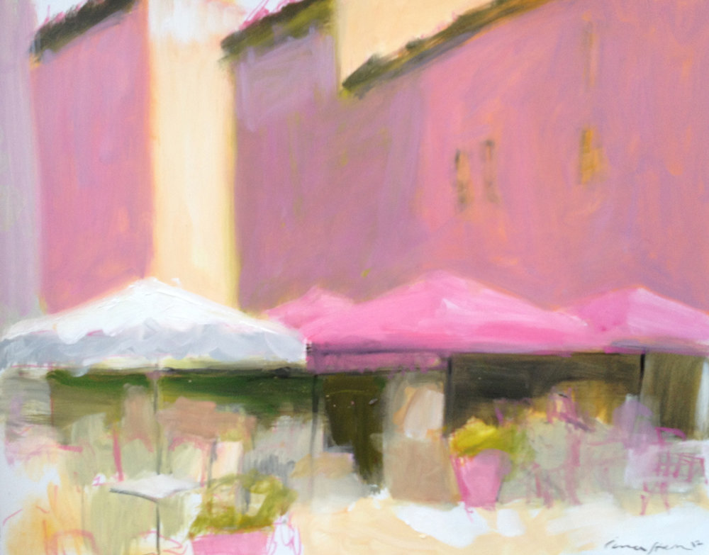 Cafe scene by Iona Stern. Oil painting on paper