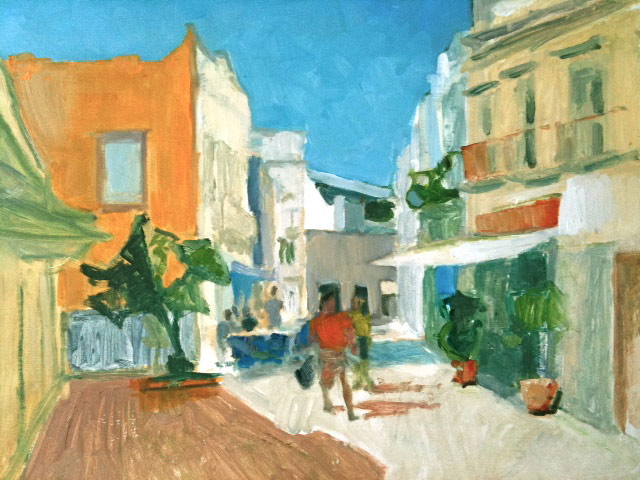 The Old Town Olhao. Oil on canvas