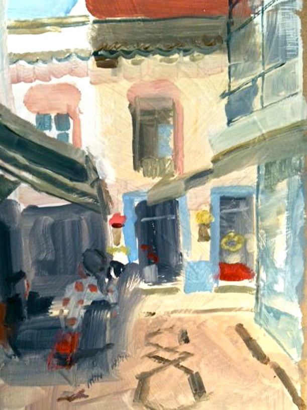 The flower shop and cafe in the Old Town, Olhao. Oil on board.
