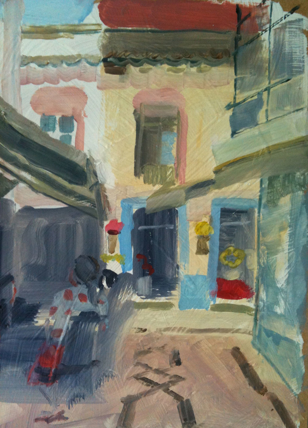 Flower Shop, Olhao, Portugal. Oil on board