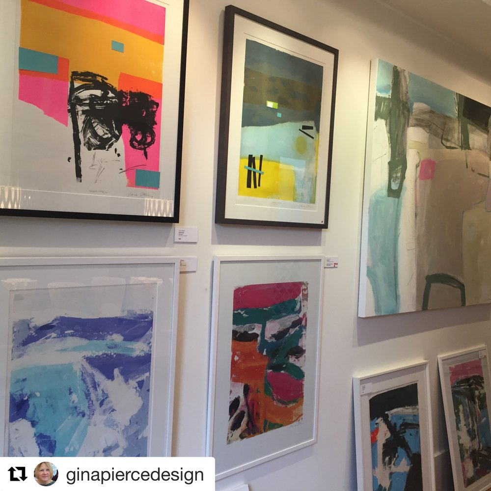 Thank you Gina Pierce design for the photograph showing screen print monotypes.
