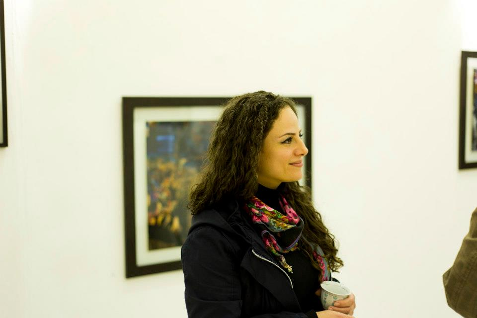 Ghadeer at the vernissage of her 2012 solo exhibition  Creative Chaos  at Dar Al-Anda, Amman, Jordan