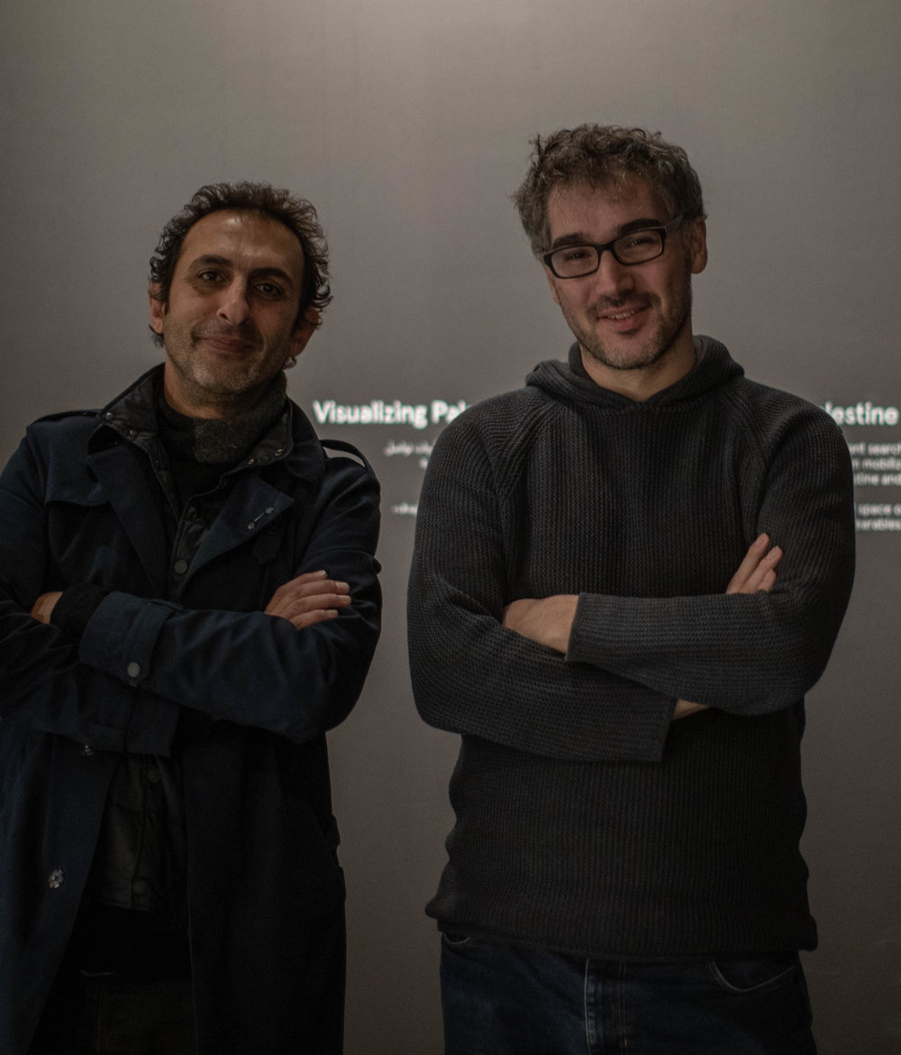 Marwan Rechmaoui (left) and Ahmad Barclay from Visualizing Palestine (right) at the opening of  A National Monument  in Beirut.