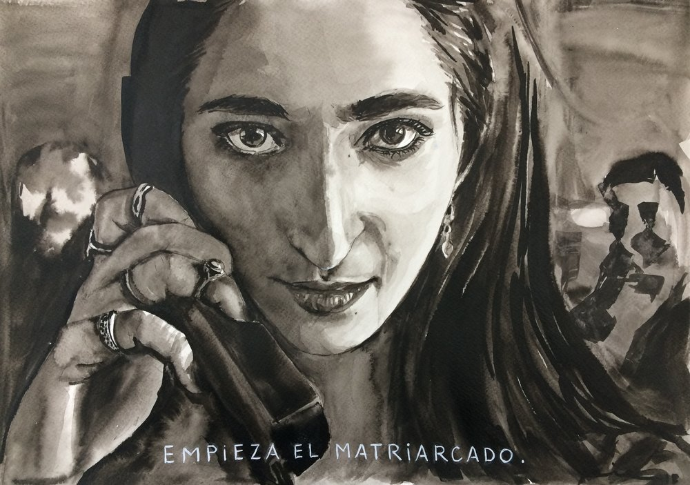 """Empieza el Matriarcado"" Indian Ink on watercolor paper (230g/m2), A3 (42x29,7 cm). Available."