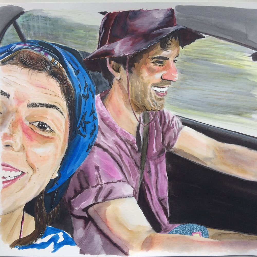 Vacation Travel Selfie by Happy Couple. Watercolor on Canson Illustration Paper (250g/m2), A3 (42x29,7 cm). Sold. Commissioned work. (Unavailable.)
