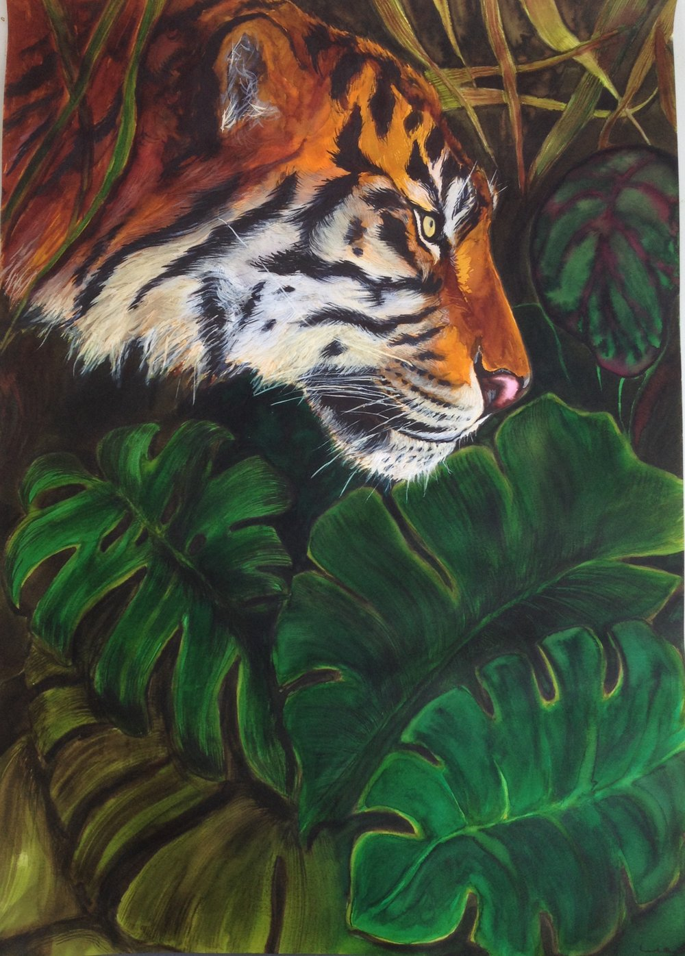 Tiger, from Tiger and Rosa. Watercolor and ink on Canson Imagine Mixed Media Paper (200g/m2), A2 (59,4x42 cm). Personal Collection. (Unavailable.)