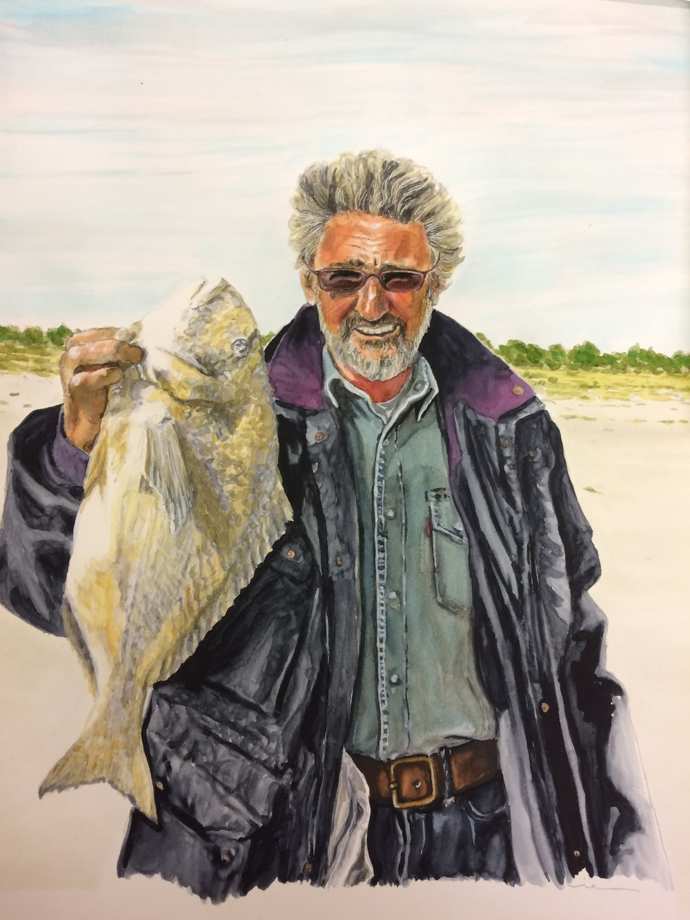 The Fisherman. Watercolors on Canson Illustration Paper (250g/m2), A3 (42x29,7 cm). Private Collection.  (Unavailable)