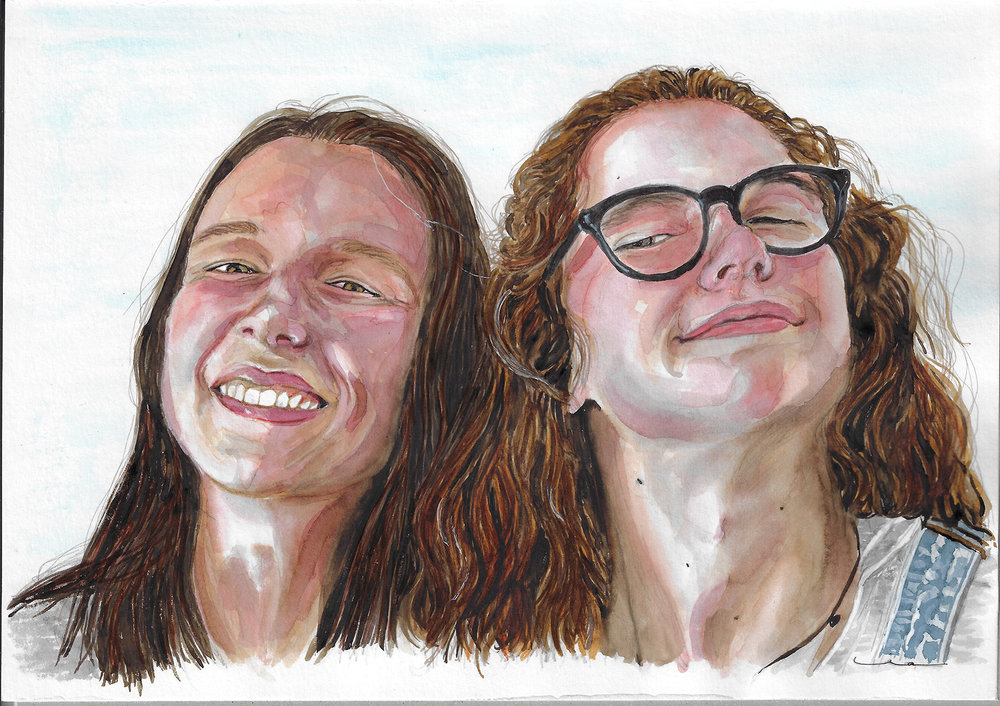 Two lovely sisters. Watercolors on Canson Illustration Paper (250g/m2), A4 (29,7x21 cm)Sold. Commissioned work.  (Unavailable.)