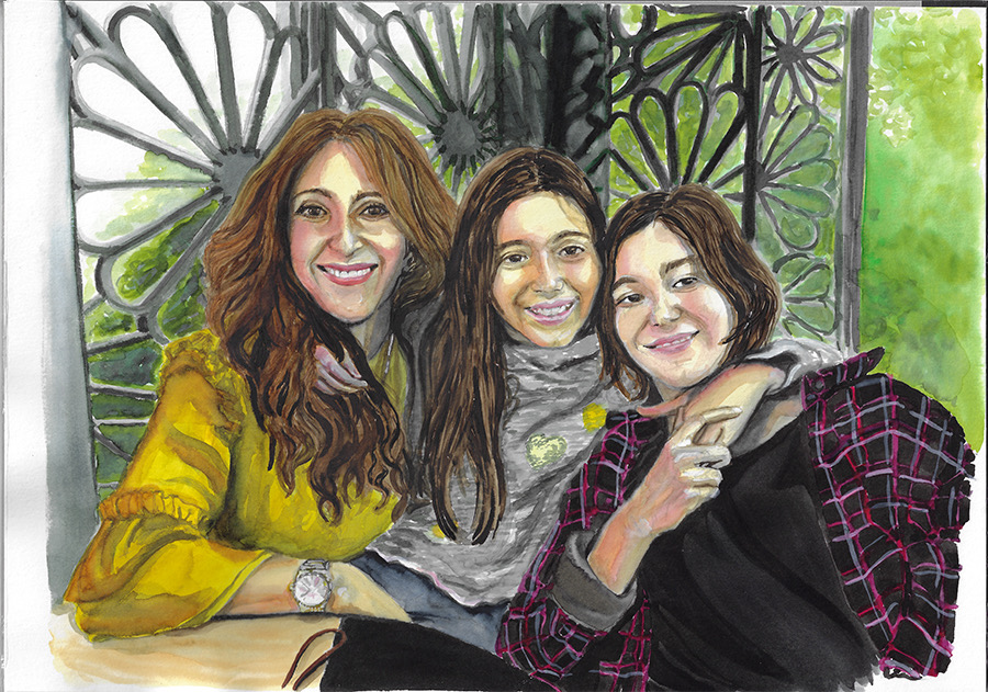 Mother and daughters. Watercolors on Canson Illustration Paper (250g/m2), A3 (42x29,7 cm). Sold. Commissioned work. (Unavailable.)