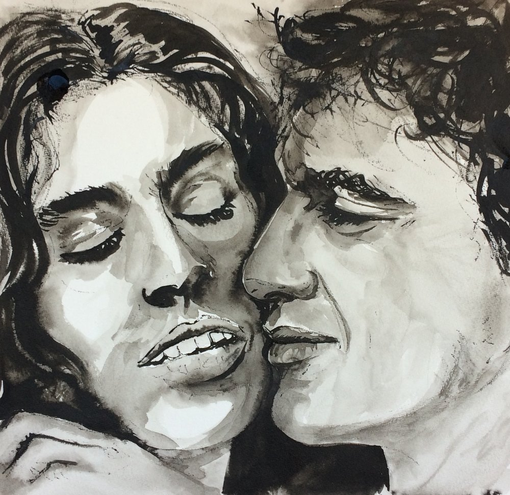 Paula and Caetano. Indian Ink on watercolor paper, (230g/m2), A3 (42x29,7 cm). Available.