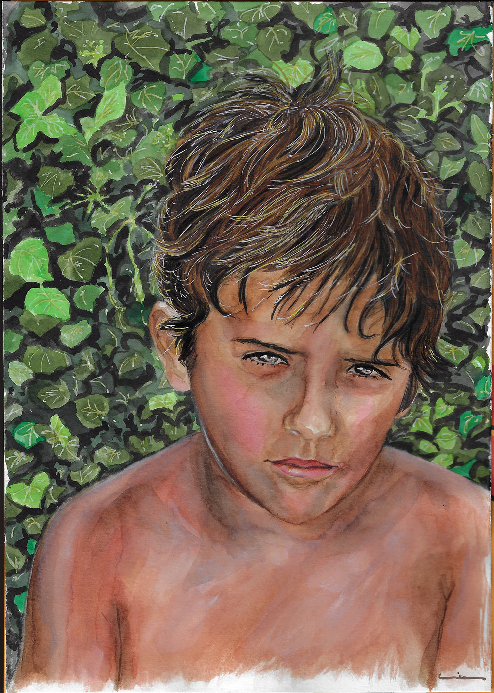 Young boy. Watercolor and ink on Canson Illustration Paper (250g/m2), A4 (29,7x21 cm). Sold. Commissioned work.  (Unavailable.)