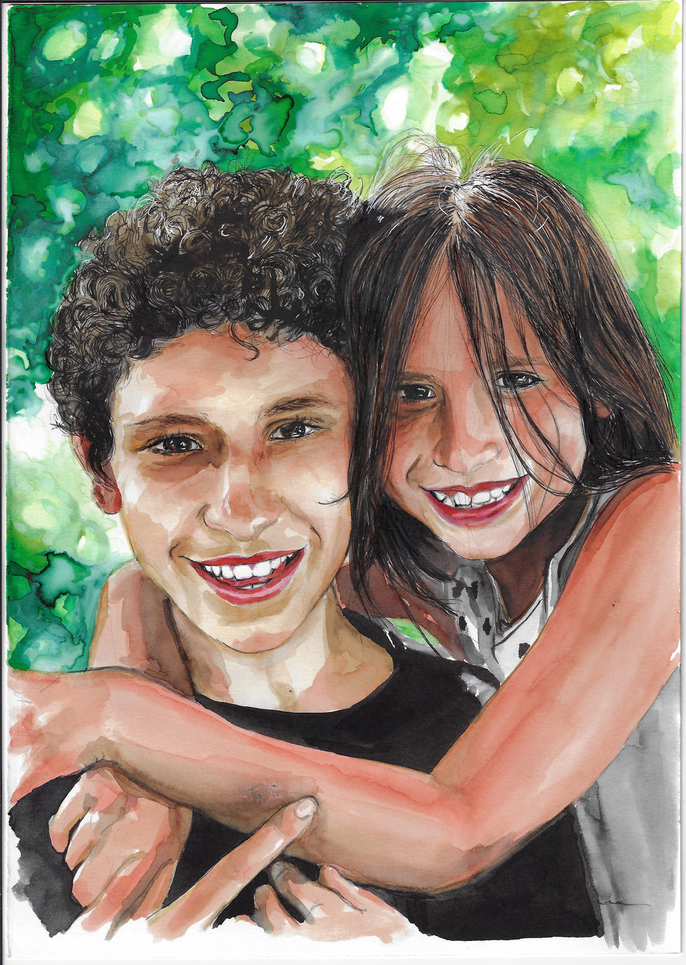Lovely siblings. Watercolor and ink on Canson Illustration Paper (250g/m2), A4 (29,7x21 cm). Sold. Commissioned work.  (Unavailable.)