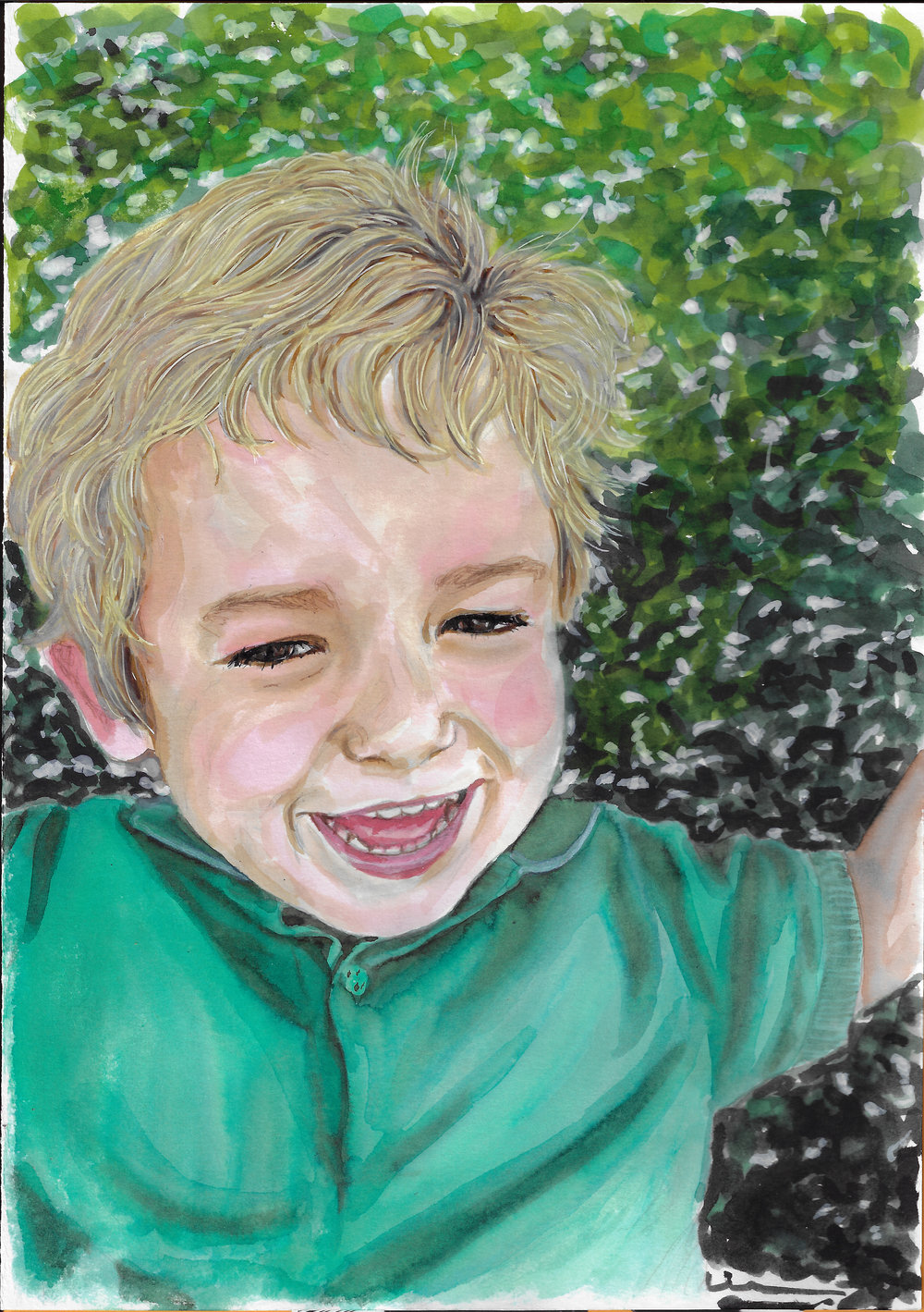 Smiling little boy. Watercolor and ink on Canson Illustration Paper (250g/m2), A4 (29,7x21 cm). Sold. Commissioned work.  (Unavailable.)