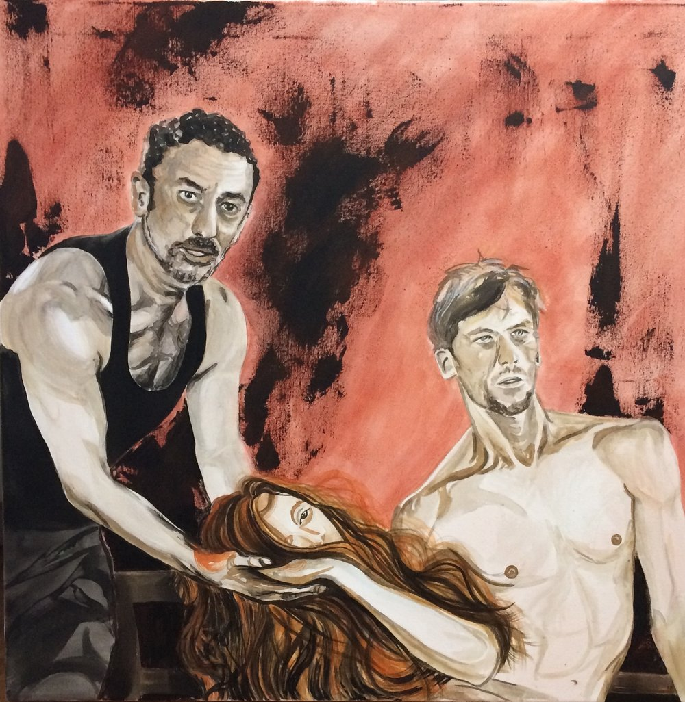 Two brave men, on Pina (Dimitris Papaioannou, Breanna O'Mara and Scott Jennings, rehearsing for the new piece Since She from Dimitris Papaioannou for Tanztheater Wuppertal Pina Bausch.) Acrylic on canvas, 70x70 cm. Available.