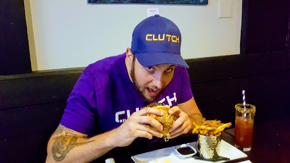 Pat, our Regional Manager, taking a bite out of the Whole Farm.