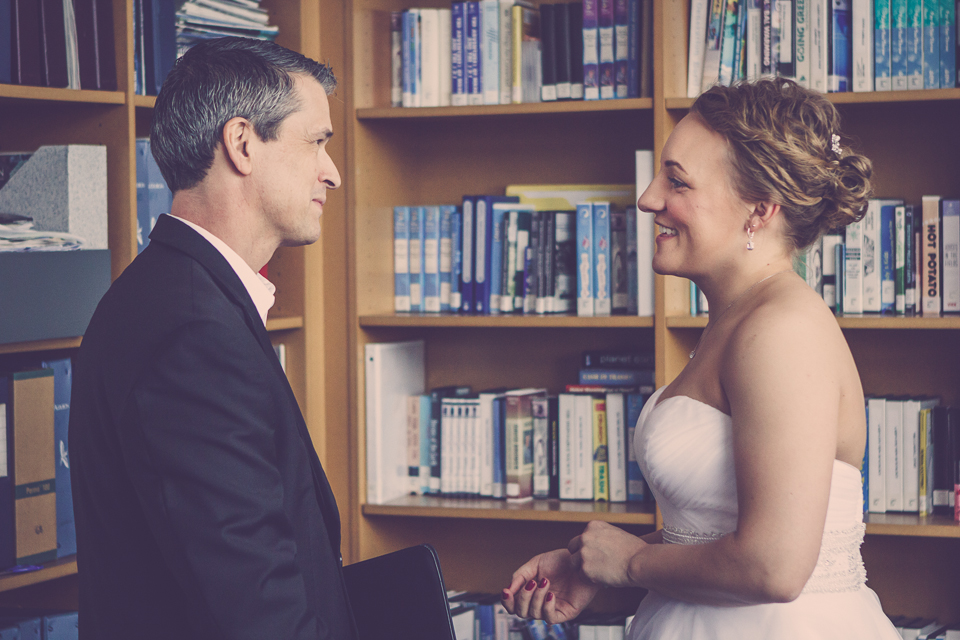 Hello happy bride! Wedding Officiant Damian King with Lauren in Columbus, Ohio
