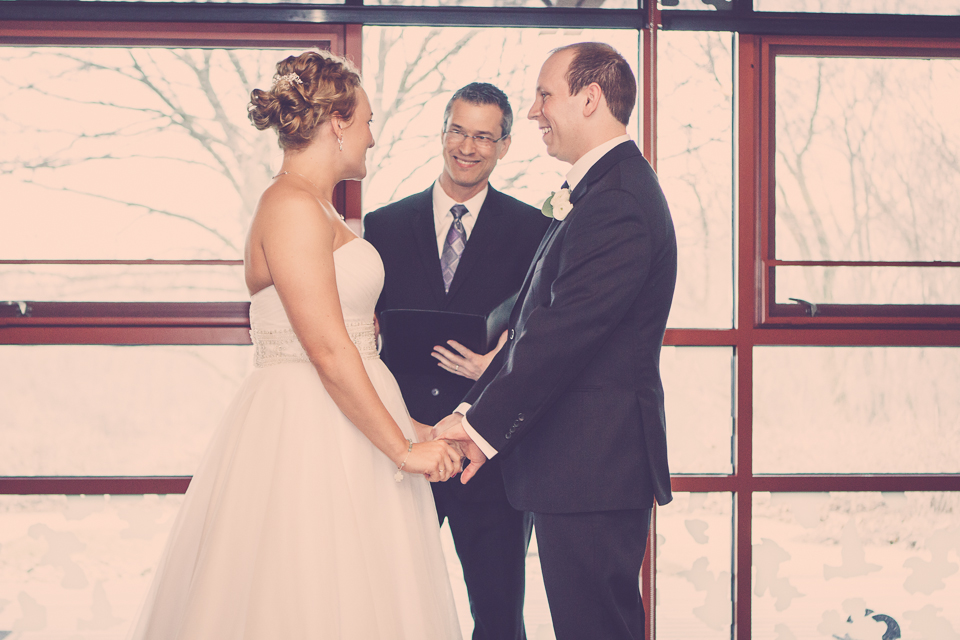 Indoor wedding ceremony in Columbus, OH. Damian King officiant