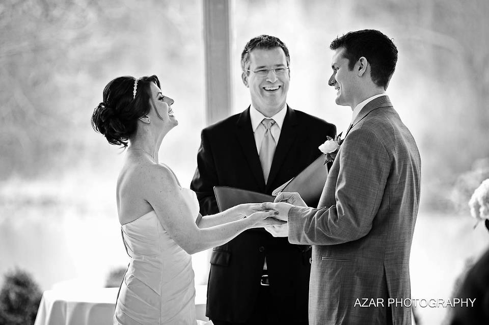 Columbus Ohio wedding officiant from United Marriage Services, Damian King, at Darby House