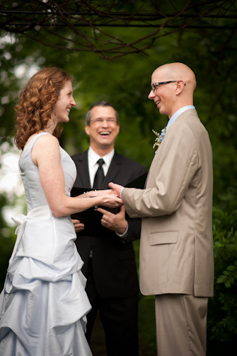 Bride and Groom, Lisa & Nick, at  Brookshire wedding venue, Damian King officiant, Columbus