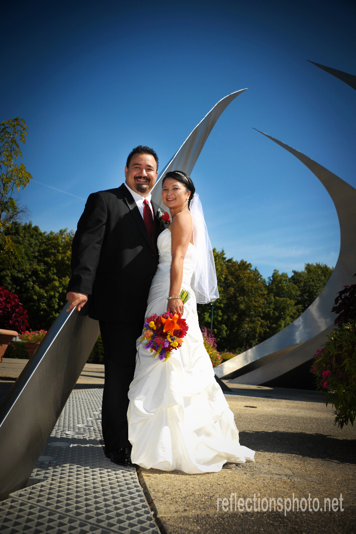 John and Christy pose after their wedding ceremony in Columbus Ohio