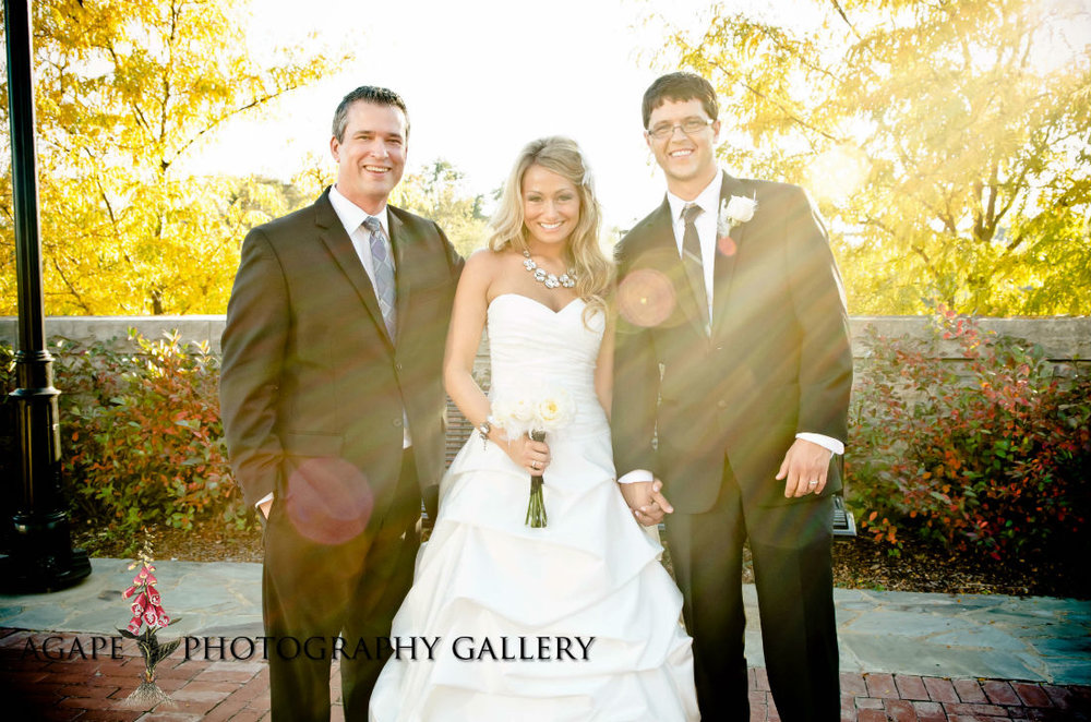 Columbus, Ohio wedding, officiant, Damian King, stands with bride and groom at North Bank Park