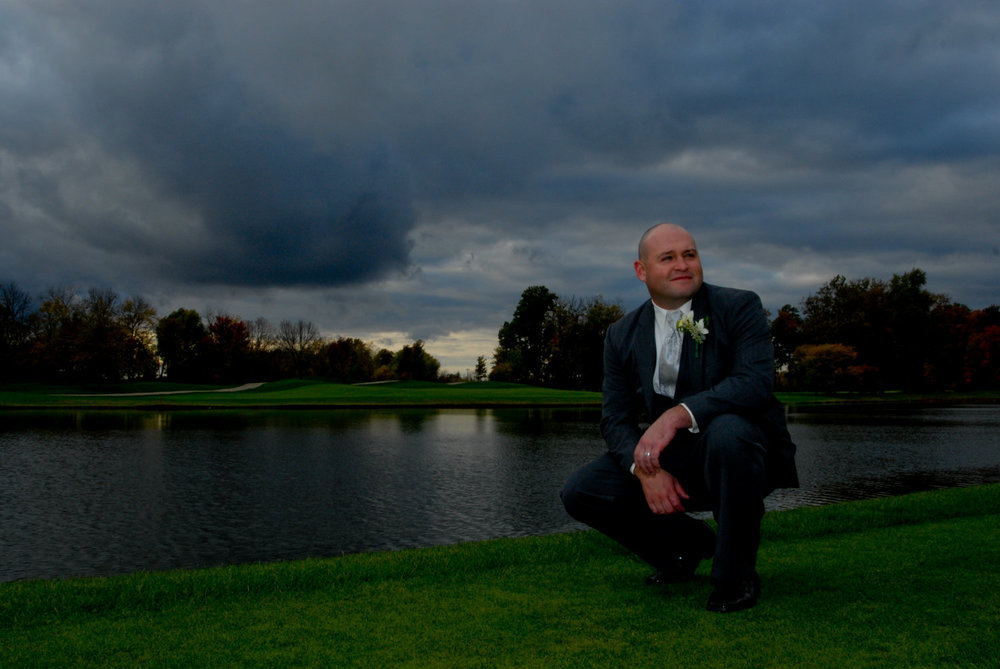 Groom, Justin at wedding venue, Heritage Golf Club in Columbus. Open Prism Photography