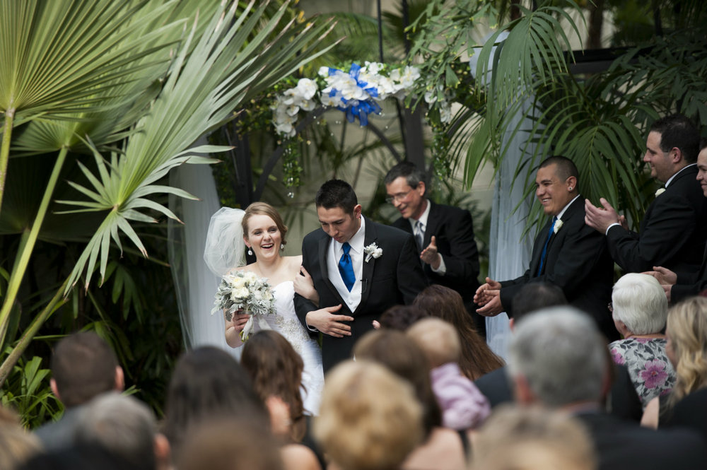 Indoor wedding ceremony at Franklin Park, Officiant was Damian King