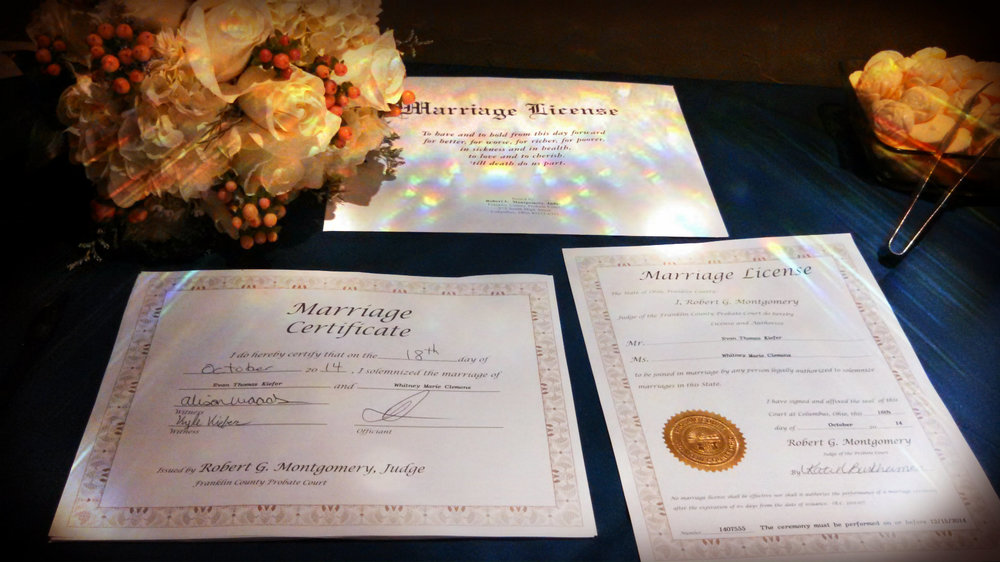 wedding officiant Damian King completes marriage license in Columbus OH