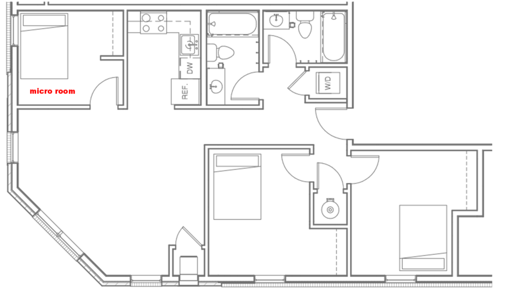 Three Bedroom - Micro Room $642/room, monthly on 2019/2020 term - (Micro room indicated with red text.)