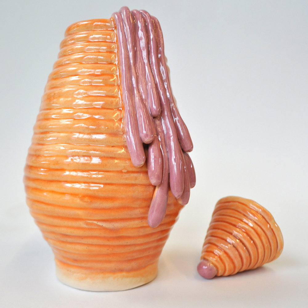"""Allie Arnold '18, Fort Worth Country Day Art Fundamentals  Lidded Coil Pot  2015 Stoneware; low-fire glaze 8.5"""" x 4"""" x 4.5"""" (with lid)"""