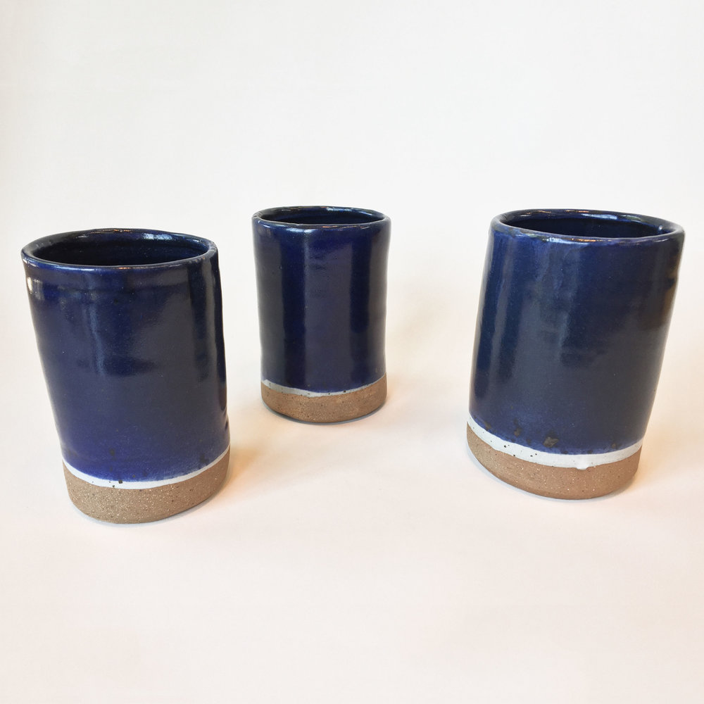 "Caroline Korman '21, Fort Worth Country Day Ceramics I  Cup Set  2018 Stoneware; wheel-thrown; high-fire glaze 3 pieces, each approx. 7.5"" x 3.5"" x 3.5"""