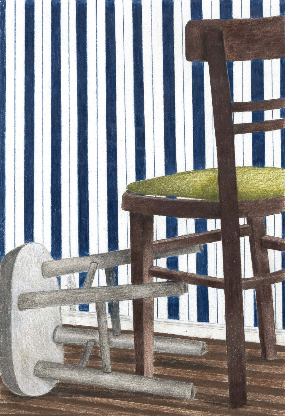"Peri Huling '19, Fort Worth Country Day Painting & Drawing II  Still Life with Chair and Stool  2018 Color pencil 12"" x 8"""