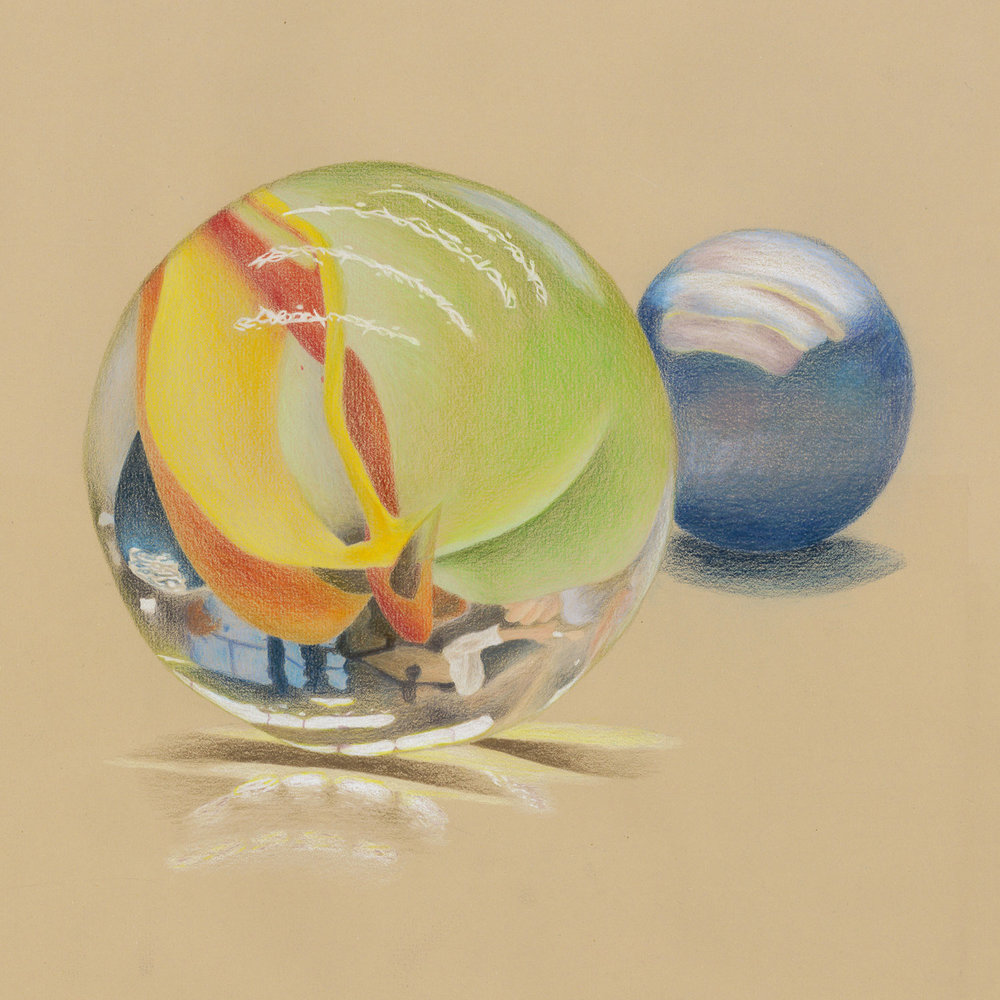"Vanessa Silva '20, Fort Worth Country Day Painting & Drawing I  Dos Canicas (Two Marbles)  2016 Color pencil on toned paper 16"" x 15.5"""