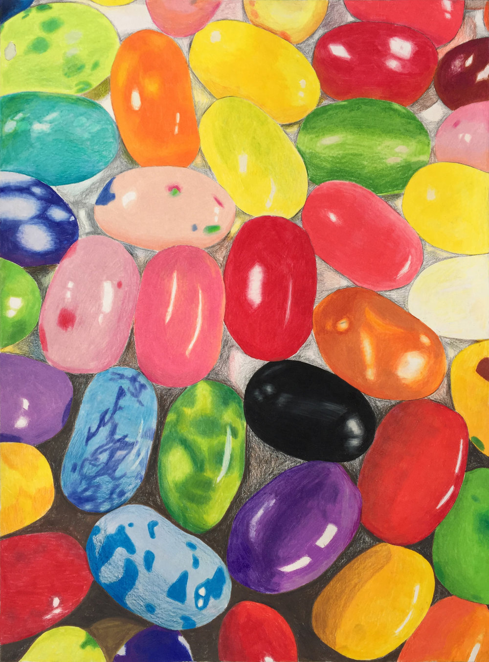 "Bird Luker, 9th grade, Fort Worth Country Day Painting & Drawing I  Jelly Beans  2016 Color pencil 20"" x 15"""