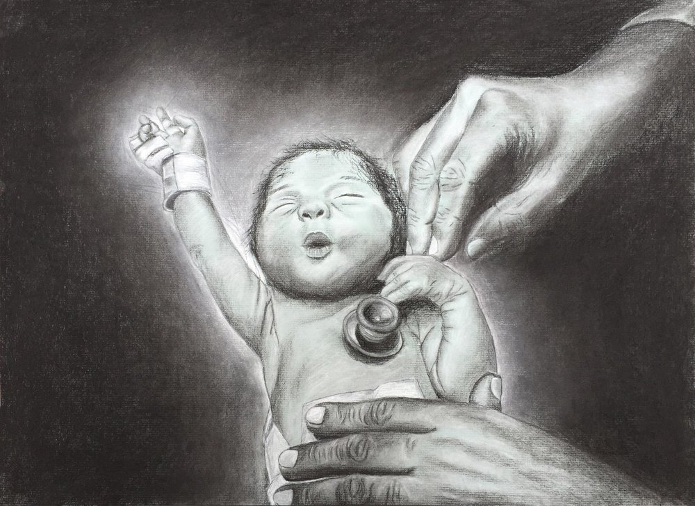 "Breanna Brietske '16, Fort Worth Country Day AP Studio Art: Drawing  A Helping Hand  2016 Charcoal on toned paper 14"" x 19.25"""