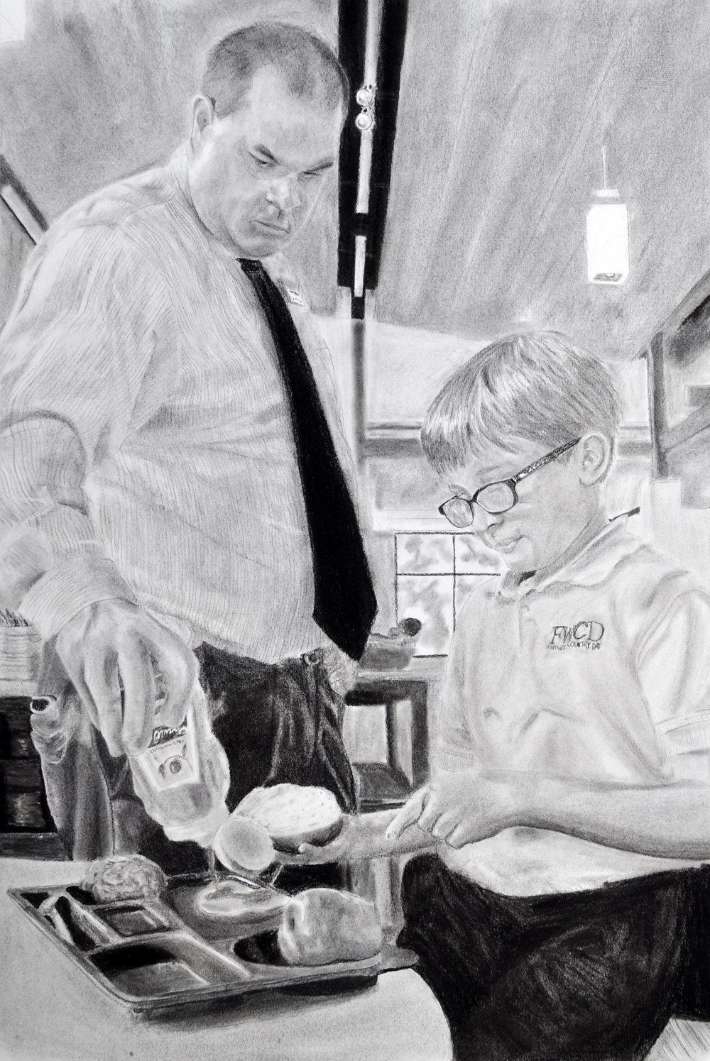 "Grace Goldman '18, Fort Worth Country Day Painting & Drawing II  SAGE Portrait: Brett Schauermann  2016 Charcoal 24.5"" x 16.5"""