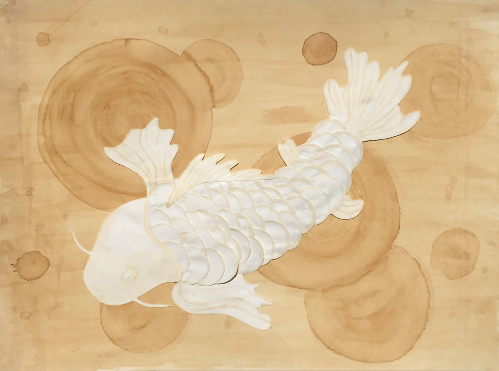 """Grace Goldman '18, Fort Worth Country Day AP Studio Art: 2-D Design  Coffee Koi  2018 Coffee and paper 22"""" x 30"""""""
