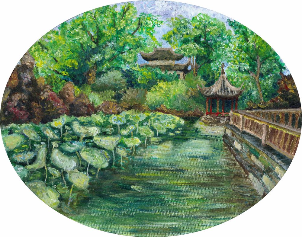 "Ava Shen '16, Fort Worth Country Day AP Studio Art: Drawing  Gardens of Suzhou  2016 Acrylic on canvas 11"" x 14"""