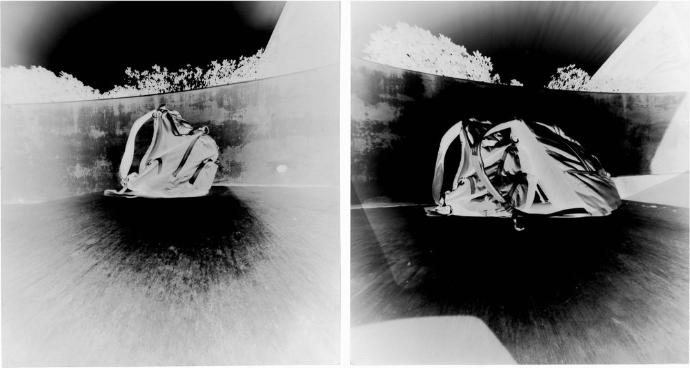 """Cameron D'Agostino, 9th grade, Fort Worth Country Day   Art Fundamentals  The Base of Academia  2017 Two pinhole photograph negatives Each negative 8.5"""" x 8""""; overall dimensions: 8.5"""" x 16.25"""""""
