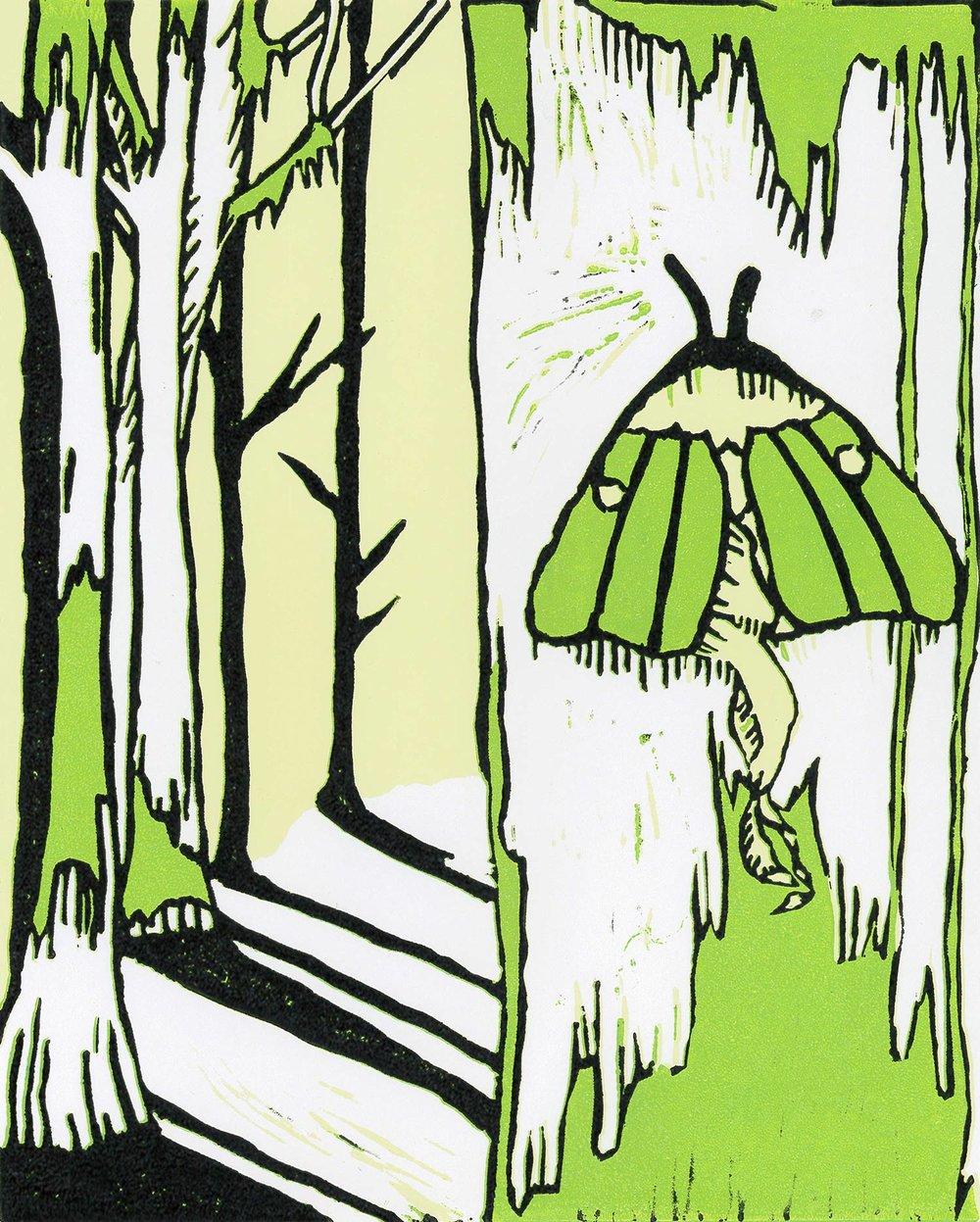 """Peri Huling '19, Fort Worth Country Day Painting & Drawing I  Luna Moth  2017 Linoleum cut 10"""" x 8"""""""