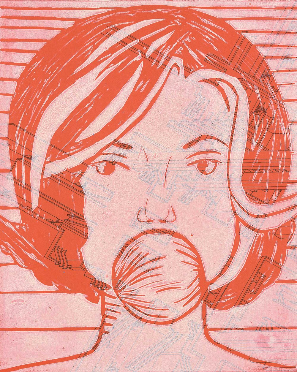 """Camille Staid '16, Fort Worth Country Day Art Fundamentals  Marilyn  2016 Linoleum cut printed on book page 10"""" x 8"""""""